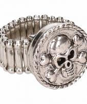 Carnavalskleding zilveren metalen ring doodskop chunk