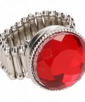 Carnavalskleding zilveren metalen ring rode robijn chunk