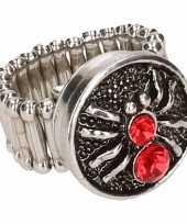 Carnavalskleding zilveren metalen ring rode spin