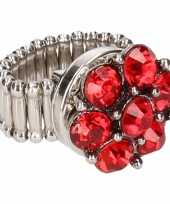 Carnavalskleding zilveren metalen ring rode steentjes