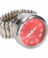 Carnavalskleding zilveren metalen ring rood klokje