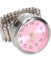 Carnavalskleding zilveren metalen ring roze klokje