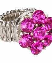 Carnavalskleding zilveren metalen ring roze steentjes