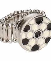 Carnavalskleding zilveren metalen ring voetbal chunk