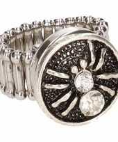 Carnavalskleding zilveren metalen ring zilver spin
