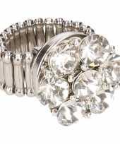 Carnavalskleding zilveren metalen ring zilveren steentjes