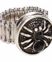 Carnavalskleding zilveren metalen ring zwarte spin