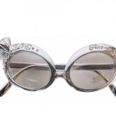 Carnavalskleding zilveren party bril diamant