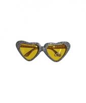 Carnavalskleding zilveren party bril hartvormig gouden glazen
