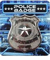 Carnavalskleding zilveren politie badge accessoires