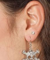 Carnavalskleding zilverkleurige doodskop oorbellen