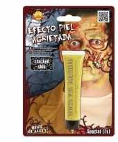 Carnavalskleding zombie gebarsten huid make up geel