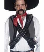 Carnavalskleding zwart cowboy kogelriem