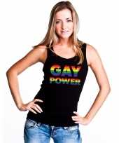 Carnavalskleding zwart gay power tanktop mouwloos shirt dames