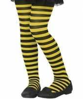 Carnavalskleding zwart gele denier verkleed panty kinderen