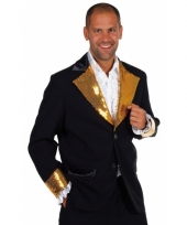 Carnavalskleding zwart goud glitter colbert heren