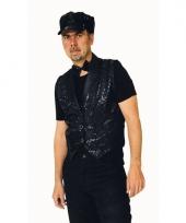 Carnavalskleding zwart mouwloze vest pailetten