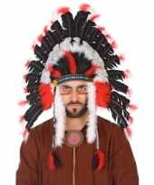 Carnavalskleding zwart witte indianen tooi heren