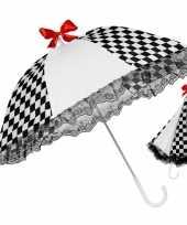 Carnavalskleding zwart witte paraplu kant