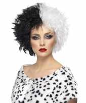 Carnavalskleding zwart witte pruik dames
