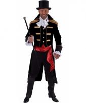 Carnavalskleding zwarte baron verkleed jas heren
