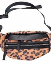 Carnavalskleding zwarte bruine luipaardprint heuptas fanny pack cross body tas nel tijgervel