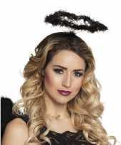 Carnavalskleding zwarte engelen halo verkleed diadeem