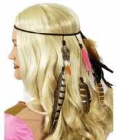 Carnavalskleding zwarte indianen hoofdband veren