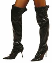 Carnavalskleding zwarte sexy laarshoezen vrouwen