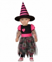 Halloween peuter carnavalskleding heks roze